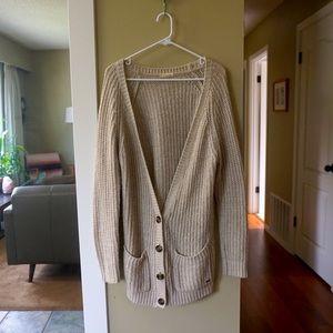 Oversized worn in cozy chunky knit cardigan
